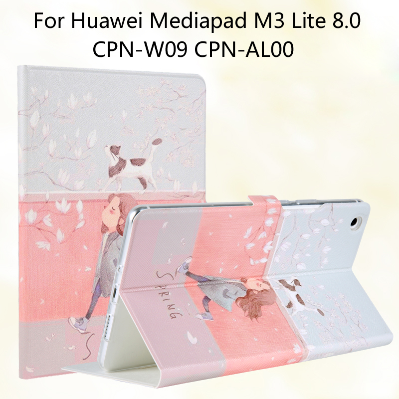 Fashion Painted Flip PU Leather For Huawei Mediapad M3 Lite 8.0 CPN-W09 CPN-AL00 8.0 inch Tablet Case Cover + Stylus + Film case for huawei mediapad m3 lite 8 case cover m3 lite 8 0 inch leather protective protector cpn l09 cpn w09 cpn al00 tablet case