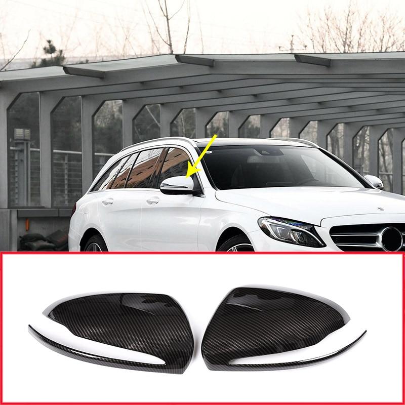 Carbon Fiber Style Car Side Rearview Mirror Cover For Mercedes Benz C Class W205 GLC S Class New E Class Car Accessories 2pcs
