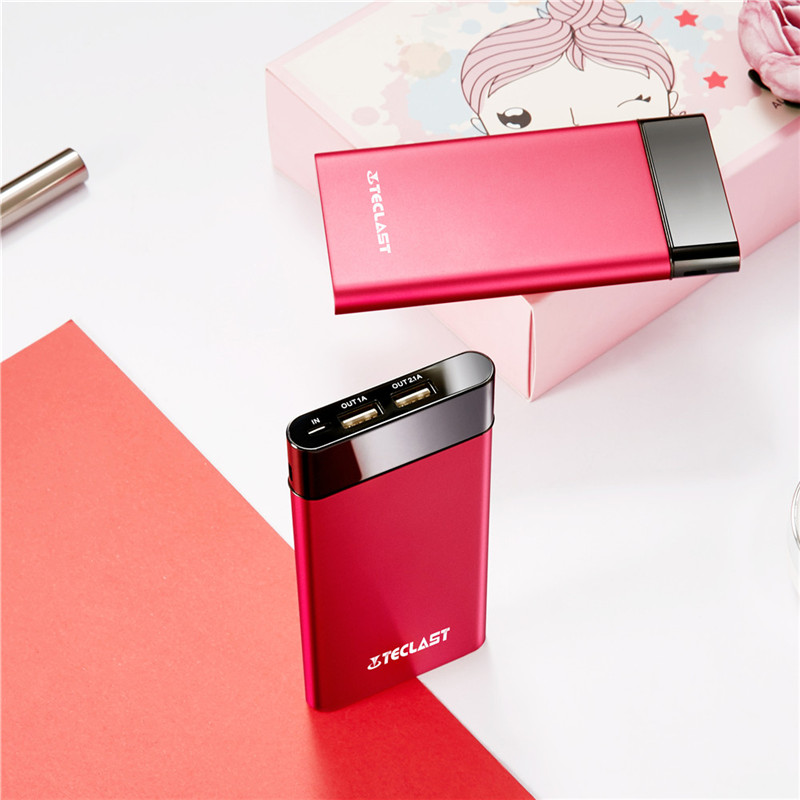 New Teclast 10000mA High Capacity T100UC R Ultra Thin Fashion Red Power Bank For IPhone6 7