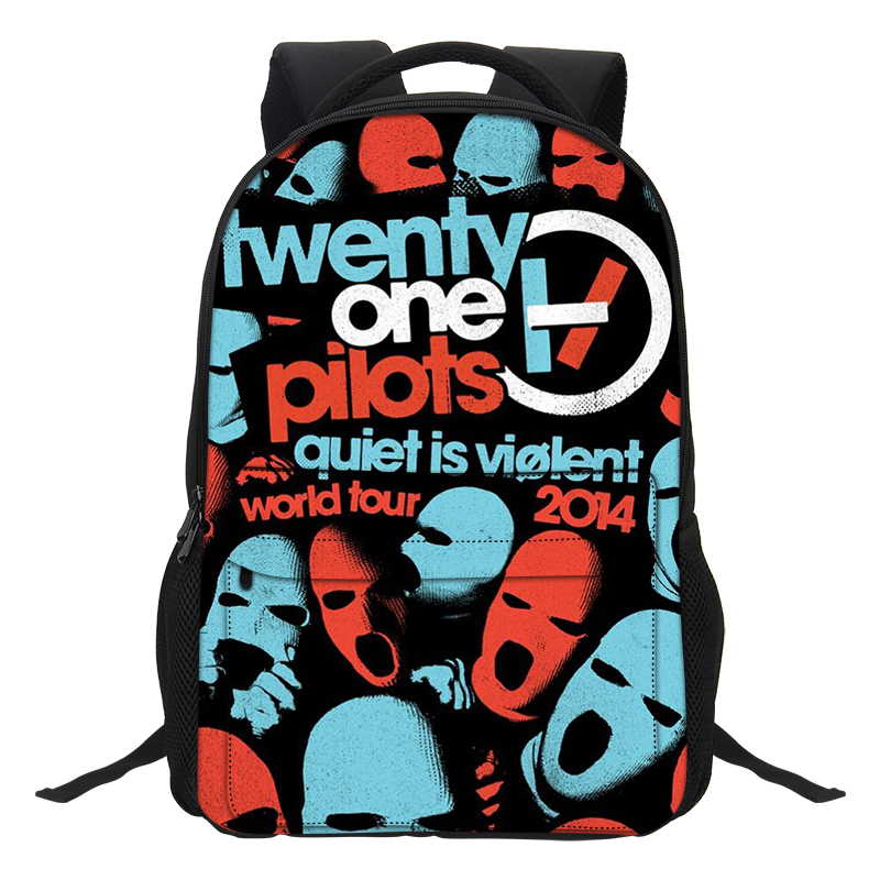 Veevanv Fashion Cartoon Boys Laptop Shoulder Bags Twenty One Pilots Printing Backpacks School Bookbag For Teenagers Boys Mochila