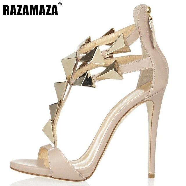 08f12ad4771 Size 35-46 Women High Heel Sandals Ladies Nude Color Thin High Heel Zipper Shoes  Woman Brand Rivets Sandal Footwear Shoes B042