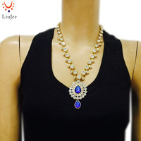 LiuJee Indian Gold Color Jewelry Necklace Long Bridal Kundan Jewellery For Women Party Wedding NK 204