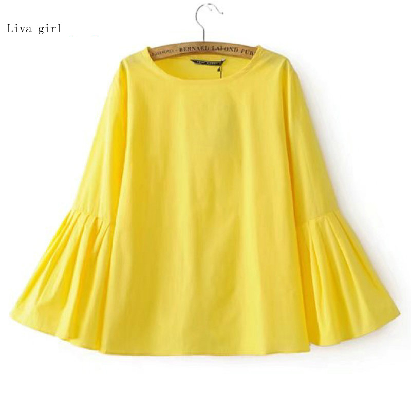 2017 Women Ruffles Yellow Blouses Shirts Blusas Feminina O Neck