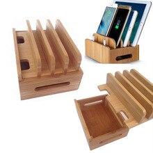 Multifunzione Bamboo Supporto Cavi Organizer Stand Stazione di Ricarica Del Telefono Mobile Per il iphone Per Samsung Phone/Tablet Universale