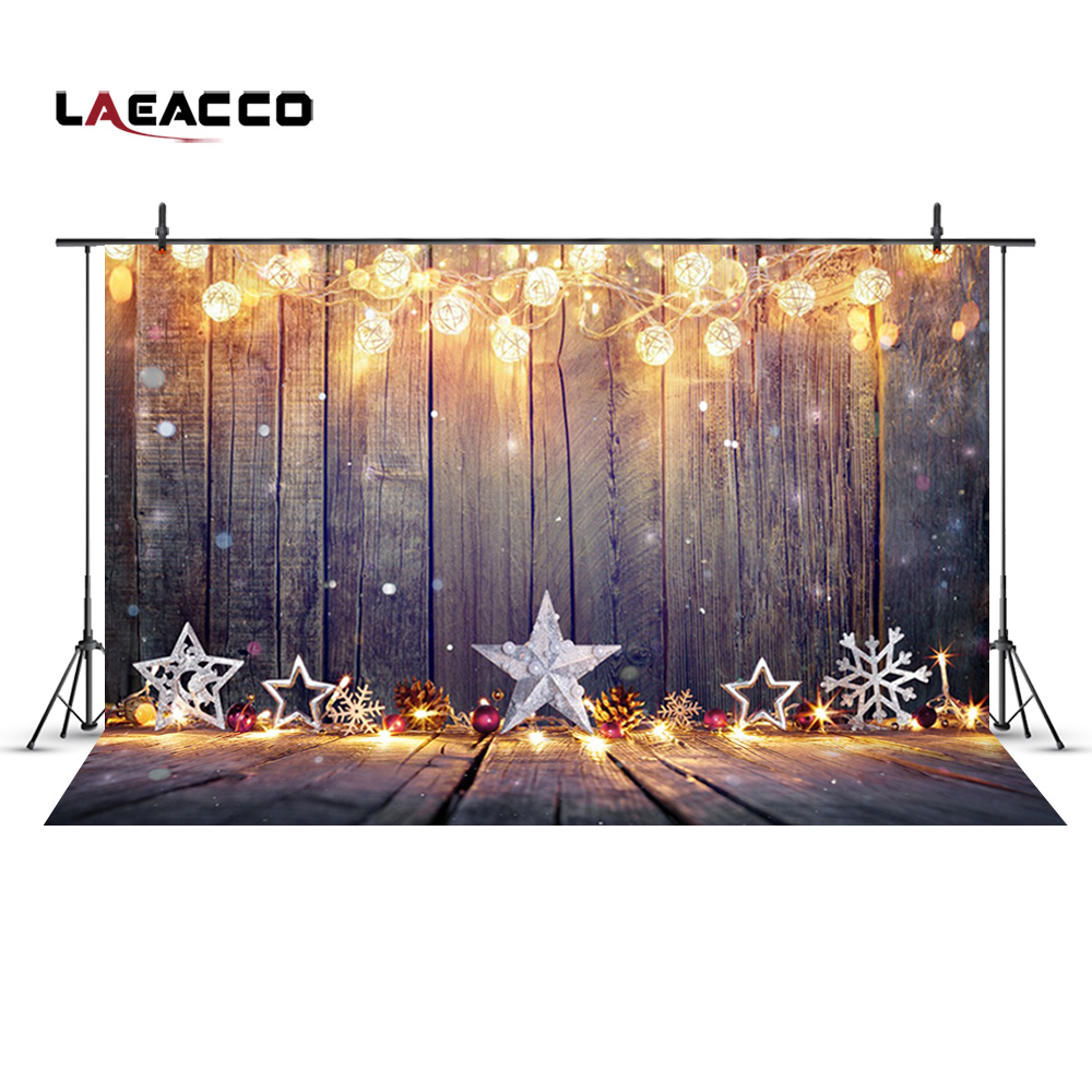 Laeacco Bulb Garland Wooden Boards Christmas Decor Photography Backgrounds Customized Photographic Backdrops For Photo Studio laeacco brick wall clock christmas tree indoor scene photography backgrounds vinyl custom camera backdrops for photo studio