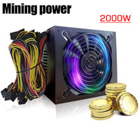 2000W PLUS Gold Power Supply ETH BTC Mining ATX SATA IDE Support 8 GPU Ethereum PC