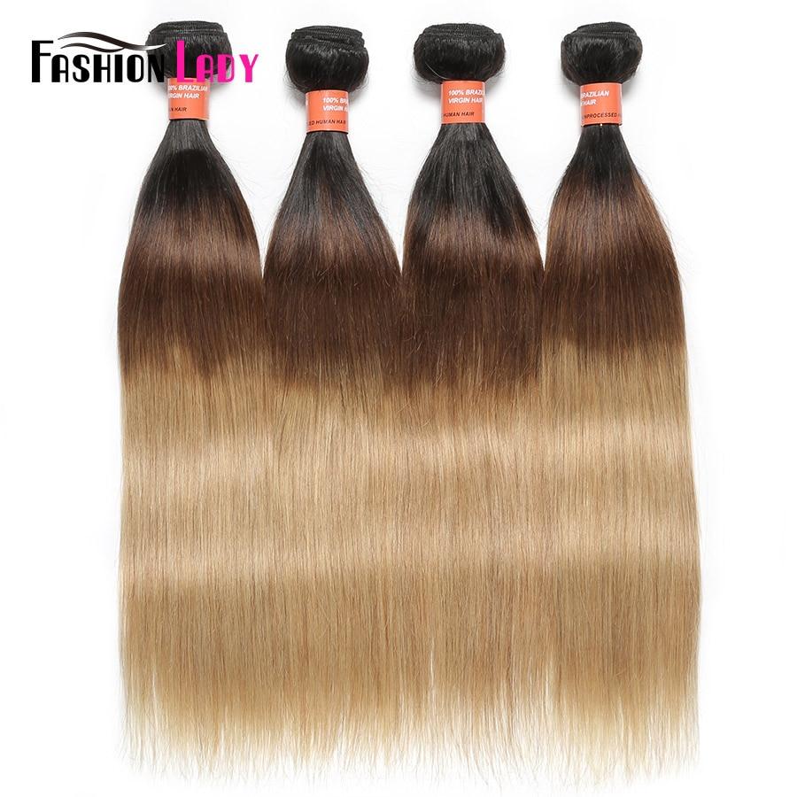 Модные женские предварительно Цветной Ombre три тона 1B/4/27 перуанский прямые волосы 4 пучки 100% не -человеческих волос Extesnions