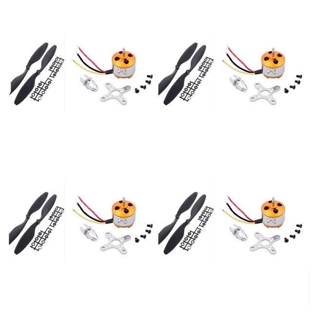 4set A2212 / 13T 1000KV Brushless Motor w + 4x 1045 10*4.5 Propellers F330 F450 F550 RC Airplane Aircraft Multicopter Quadcopter