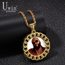 Uwin Round Custom Made Photo Medallions Necklace & Pendant Rhinestone Iced Out Crystal HipHop Jewelry For Gift