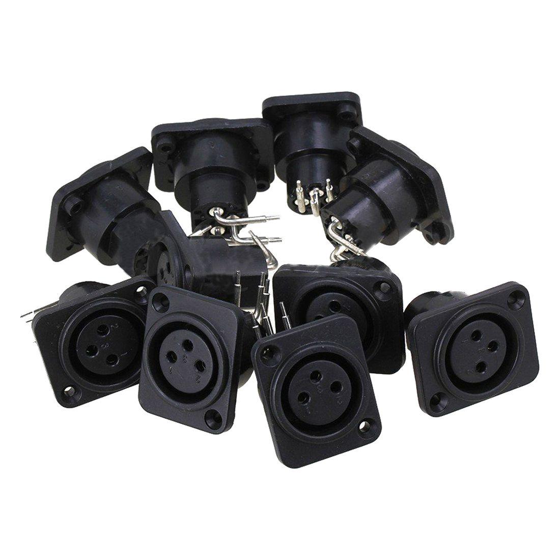 10 pcs Preto XLR 3pin Feminino Jack Panel Mount Chassis PCB Soquete do Conector