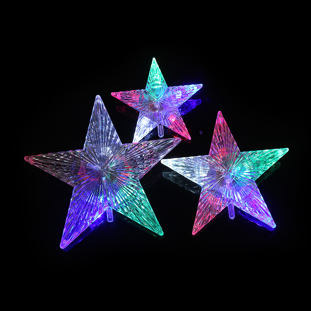 Fashion Christmas Tree Topper Star Lights Lamp Multi Color Decoration Colorful Light Flashing Home Festival Art Decor