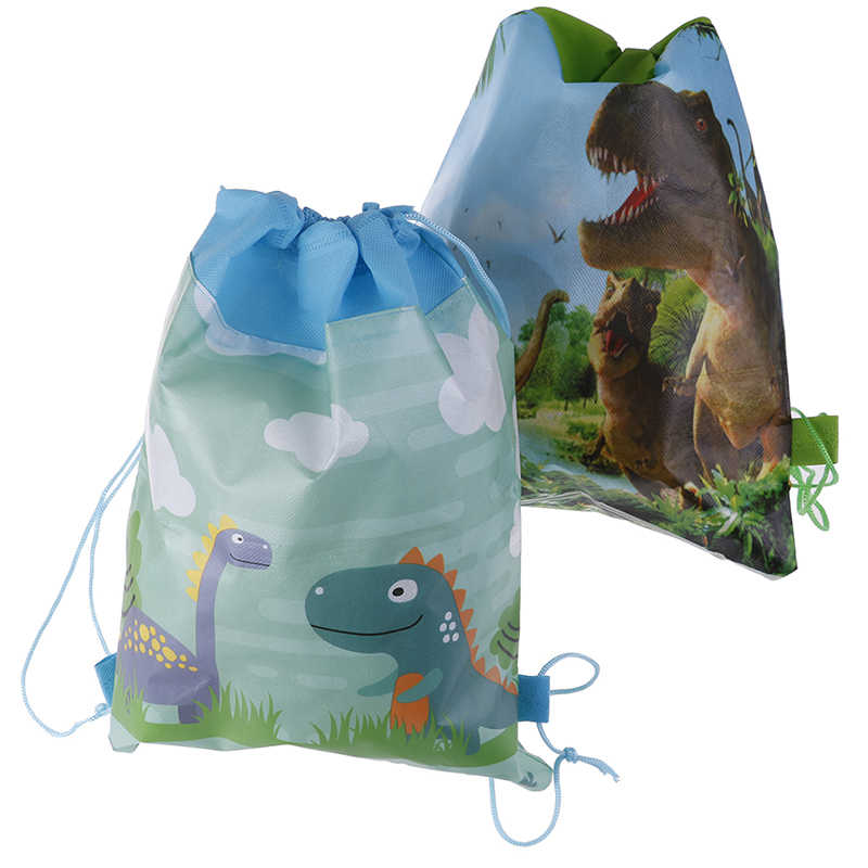 Birthday Party Boys Favors Drawstring Gifts Bags Cartoon Cute Dinosaur Theme Decorate Non-woven Fabric Baby Shower