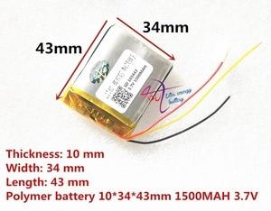 Image 2 - 3 خط لتر بطارية الطاقة 3.7 فولت بطارية ليثيوم بوليمر 103443 1500 مللي أمبير آلة لعبة MP3 MP4 MP5 بطارية ليثيوم لتحديد المواقع الملاح