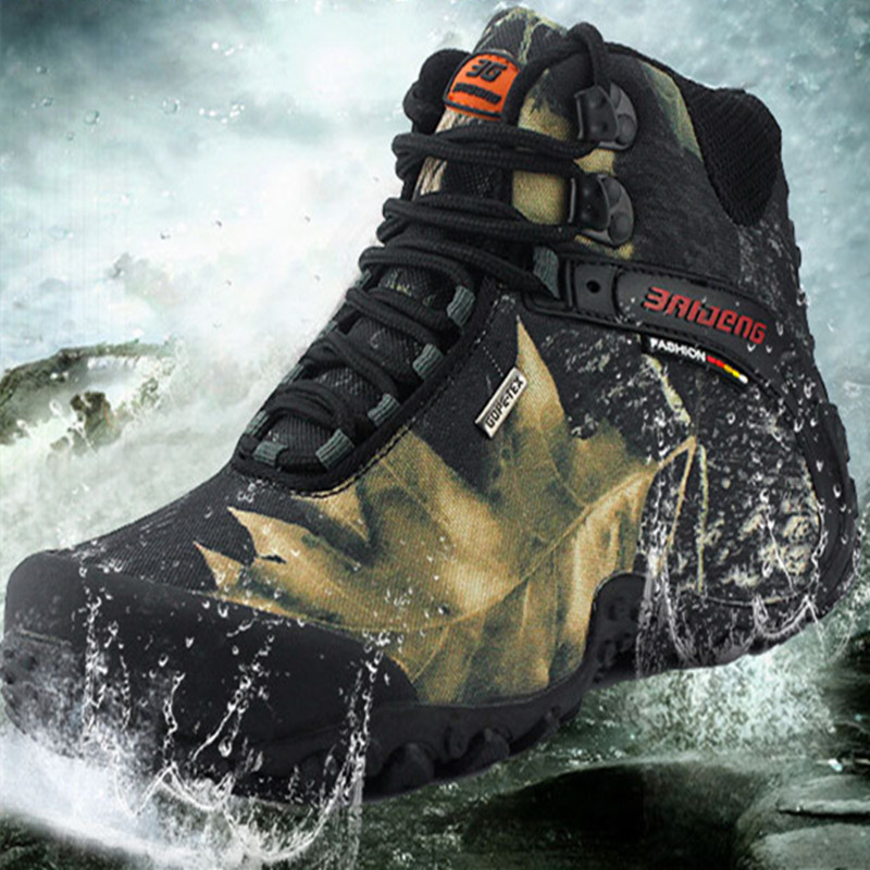 Men tactical camouflage waterproof canvas hiking boot male Anti-skid Wear resistant fishing zapato climbing plus size high shoes 2016 sale professional men s boots camouflage military boot waterproof hunting hiking shoes size euro 39 44 bo01