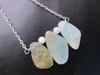 Nowy przybył! naturalny kamień wisiorek naszyjnik gem stone aqua aqua marine roungh biżuteria naszyjnik 2 sztuk/partia