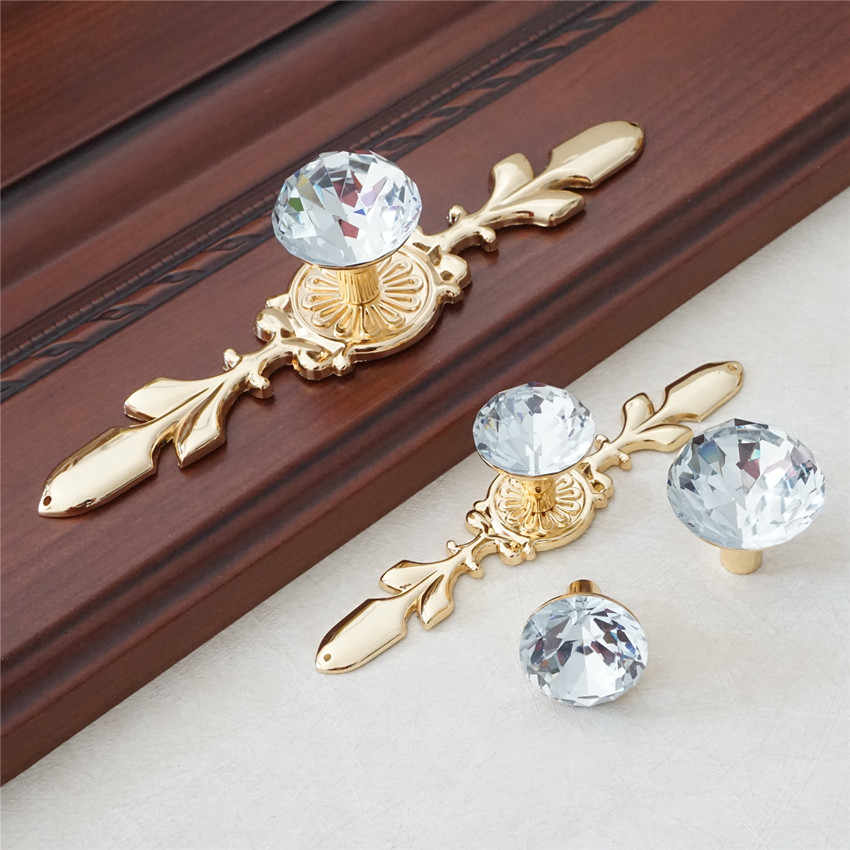 Drawer Knob Handles Crystal Pulls Handle Dresser Knob Pull Gold Silver Chrome Clear Glass Cupboard Handles Shiny Cabinet Knob