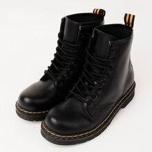 Непромокаемые Сапоги водонепроницаемая обувь женские зимние сапоги в стиле панк на шнуровке ботинки Martin Ботильоны шитья твердый обувь на плоской подошве