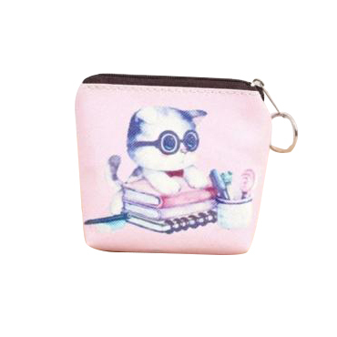 10pcs( ASDS Women Girls Cute Zip Leather Coin Purse Wallet Bag Change Pouch Key Card Holder #23 Pink