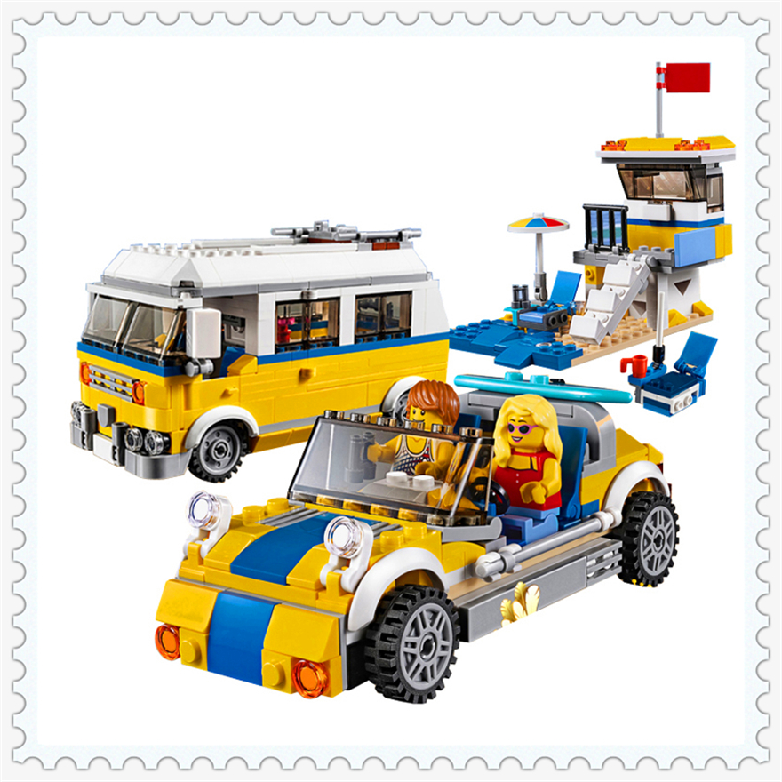 424Pcs 3 In 1 Creative Sunshine Surfer Van Model Building Block Toys LEPIN 24044 Figure Gift For Children Compatible Legoe 31079 lepin 24021 city creator 3 in 1 island adventures building block 379pcs diy educational toys for children compatible legoe