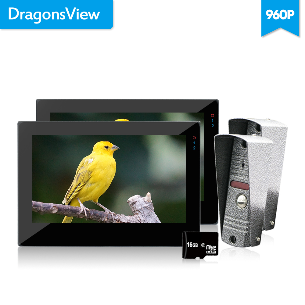 Dragonsview  1.3MP 960P Video Door Phone Intercom System 7 Inch Indoor Monitor Intercom Picture Video Record 16GB SD Card Motion