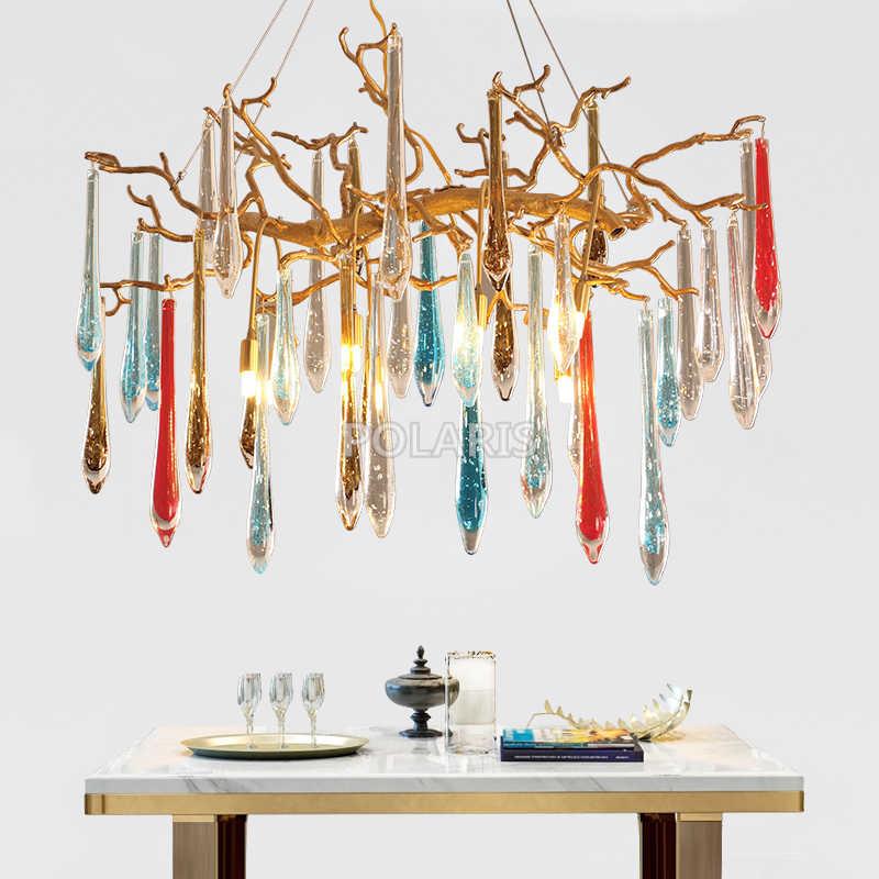 Современная латунная хрустальная люстра осветительный прибор светодиодный бронзовые люстры стеклянный подвесной светильник для гостиной столовой