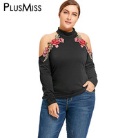 PlusMiss Plus Size 5XL Sexy Cold Shoulder Floral Embroidered Blouse Shirt Women Clothing Turtleneck Embroidery Tops