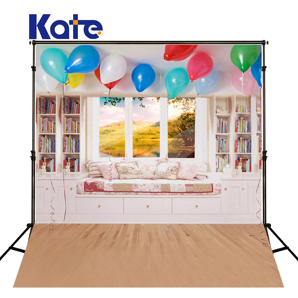 KATE Newborn Baby Backdrops Kids Bookshelf Backdrops Balloon Window Children Background Hintergrund Fotografie Newborn Haus