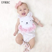 UVKKC Summer Newborn Baby Girl Clothes Cute Rabbit Infant Suspenders Ropa De Bebe Nena Baby Wear