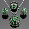 Made in China Round Green Created Emerald Silver Color Jewelry Sets Necklace/Pendant/Earrings/Rings For Women Free Gift Box