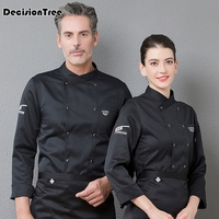 2019 new men full sleeves breathable mesh patchwork chef food service cuisine cook workwear t shirt kitchen work uniforms