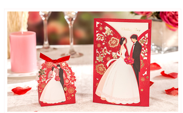 1set Red Luxury Flora Wedding Invitations Card Elegant Bride And Groom Invitation Card  Favor Envelopes Wedding Party Decoration