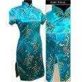Light Blue Traditional Chinese Clothing Women's Cheong-sam Mini Qipao Dress Flower S M L XL XXL XXXL 4XL 5XL 6XL J4062