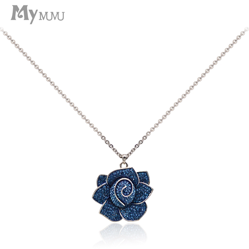 Mymumu Rose Flower Shape Crystal Pendants Necklaces Collars Choker Women Short Necklace Jewelry Statement Necklaces Blue Black