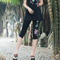 Black And White Large Size Capris Summer Fashion New Women Vintage Casual Embroidered Elastic Legging
