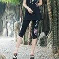 Preto e branco grande tamanho capris summer nova moda das mulheres do vintage bordado ocasional legging elástico