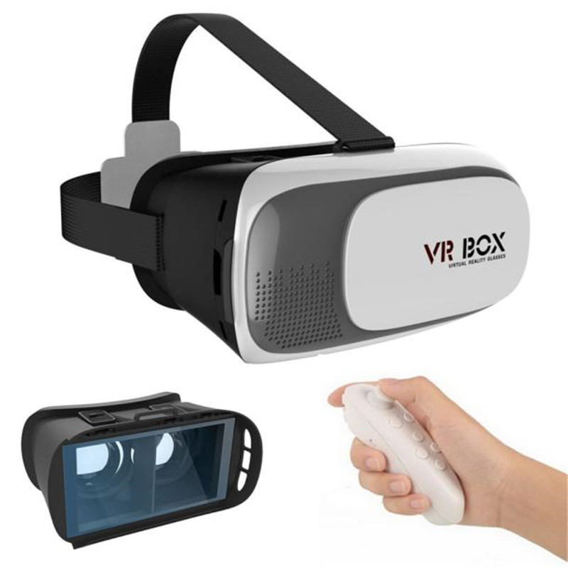 High Quality Google Cardboard VR BOX Virtual Reality 3D Glasses For 4.7-6.1 inch smartphone Samsung + Controller+Film Wholesale