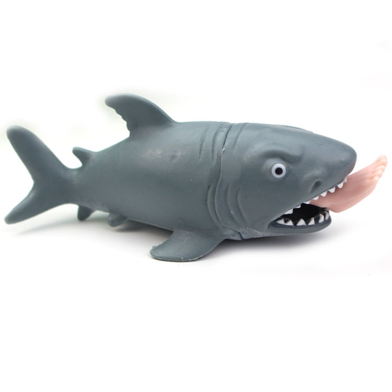 Creative Funny Toy Squeeze Stress Ball Alternative Humorous Shark Eat Human Leg Squeeze Pressure Relieve Decompression Toy (Si