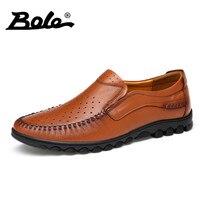 BOEL Summer Punching Breathable Men Loafers Designer Superstar Slip On Business Men Casual Shoes Outdoor Walking