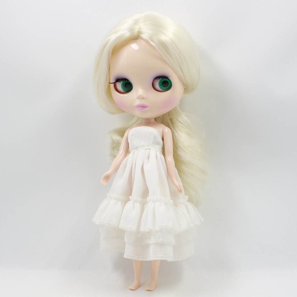 Free shipping blyth doll normal body white skin BL3131 GOLDEN white HAIR centra parting wavy hair