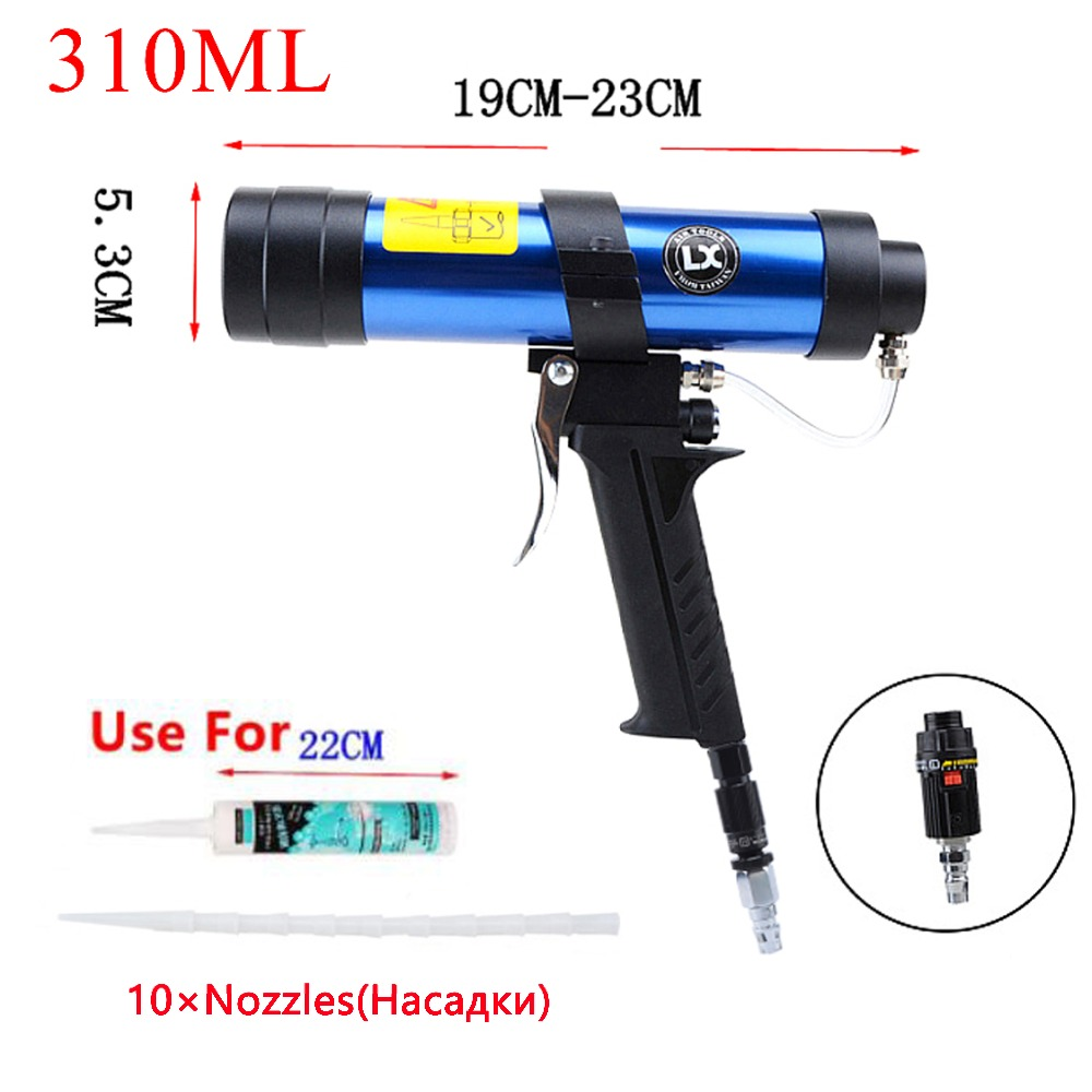 цена на Caulking Gun 310ml Pneumatic Work Cartridge Gun Silicone Pistol Glue Air Glass Rubber Sealant Nozzle For Valve Adjustment Tools