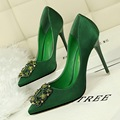 2017 New Spring Women Elegant Pumps Fashion Sexy Thin Satin Rhinestone Buckle High Heels Shoes Pointed Single Shoes G2586-40