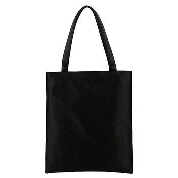 10pcs Fashion Blank Women's Handbag High Quality Canvas Shopping Bag Girl's Lovely Cartoon Printing School Bag Female Handbag