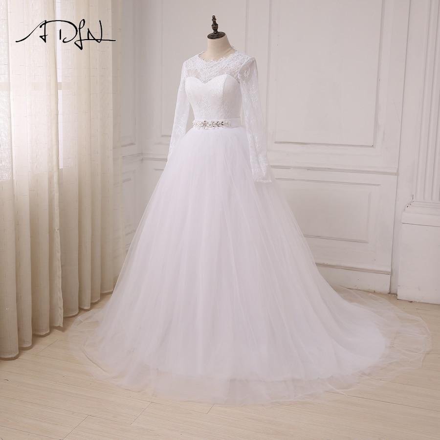 ADLN În stoc Rochii ieftine de nuntă albă Aplică Lace Tulle - Rochii de mireasa - Fotografie 3
