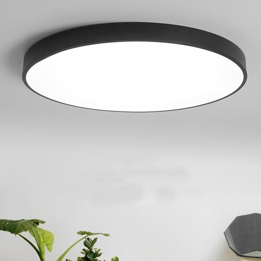 Modern ultra thin 5cm LED ceiling light black white dia 23 30cm living dining room bedroom