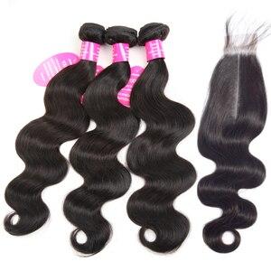 Image 4 - Queenlike mechones de ondas corporales con cierre de Kim Kardashian, cabello brasileño ondulado no Remy, 4 extensiones de cabello humano mechones con cierre