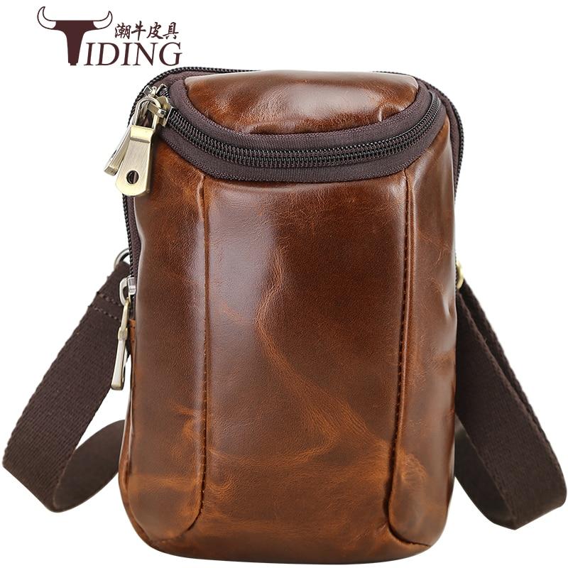 Men Brand Cow Leather Travel Small Crossbody Shoulder Bags 2018 new Man Fashion Designer Leather Vitage Business Messenger Bag