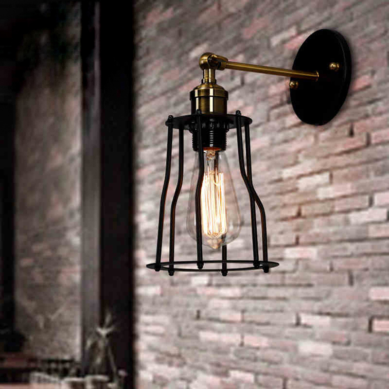 Modern brief loft vintage industrial warehouse bedside bar mirror stair wrought iron edison wall sconce lamp lighting fixture
