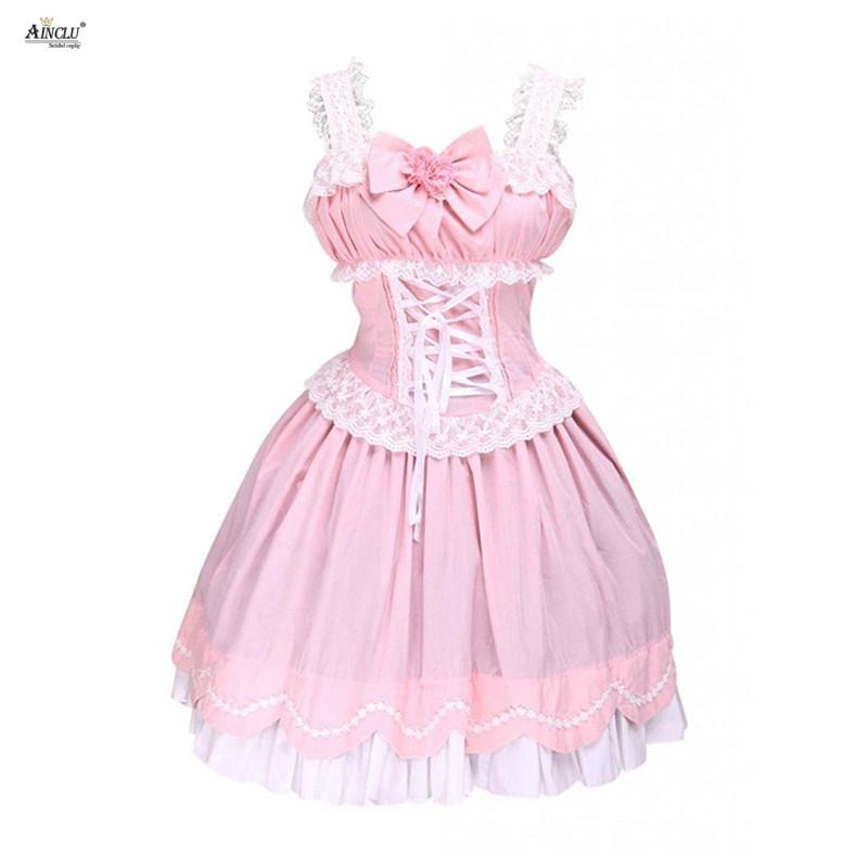 Middle-Long Dress Ainclu Hot Selling Womens XS-XXL Sweet Ruffles Sleeveless A-line Bubble Cute Dress Cotton Lolita Dress