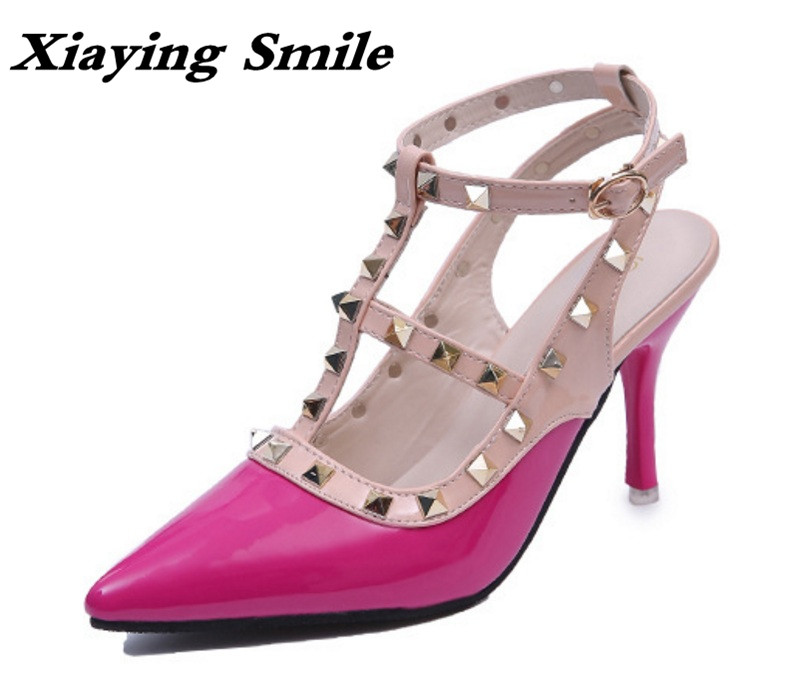 Xiaying Smile Summer Woman Sandals Women Pumps Buckle Strap High Thin Heel Fashion Casual Sexy Bling Rivet Rubber Women Shoes summer women shoes casual cutouts lace canvas shoes hollow floral breathable platform flat shoe sapato feminino 30