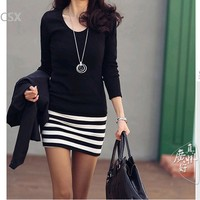 Hot Sale 2013 New Korean Fashion Ladies Cotton Large Size Slim Striped Dress Black White Three